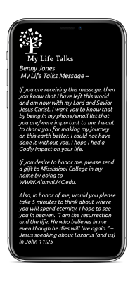 MyLifeTalks end of life message